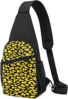 Mochila bandolera de piel de leopardo, color amarillo y negro, ligera para el hombro, mochila cruzada, bolsa de viaje, sen...