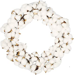 VGIA 16 Inch Real Cotton Wreath Farmhouse Decor Christmas Vintage Wreath - Adjustable Stems