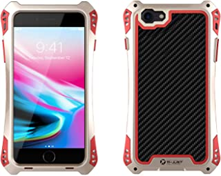 iPhone 5/5S Case, R-JUST [Amira Series] Carbon Fiber Aluminum Armor Cover, Heavy Duty Shockproof Metal Case foriPhone 5/5S (Gold)