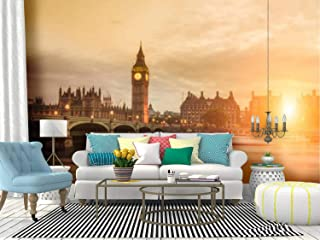 Kanworse Sunset in London Skyline at Sunsets and Pictures Canvas Print Wallpaper Wall Mural Self Adhesive Peel & Stick Wallpaper Home Craft Wall Decal Wall Poster Sticker for Living Room