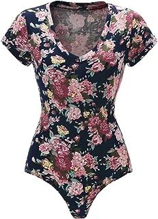 Women's Short Sleeve Tops Basic V-Neck Leotard Bodysuit Jumpsuit