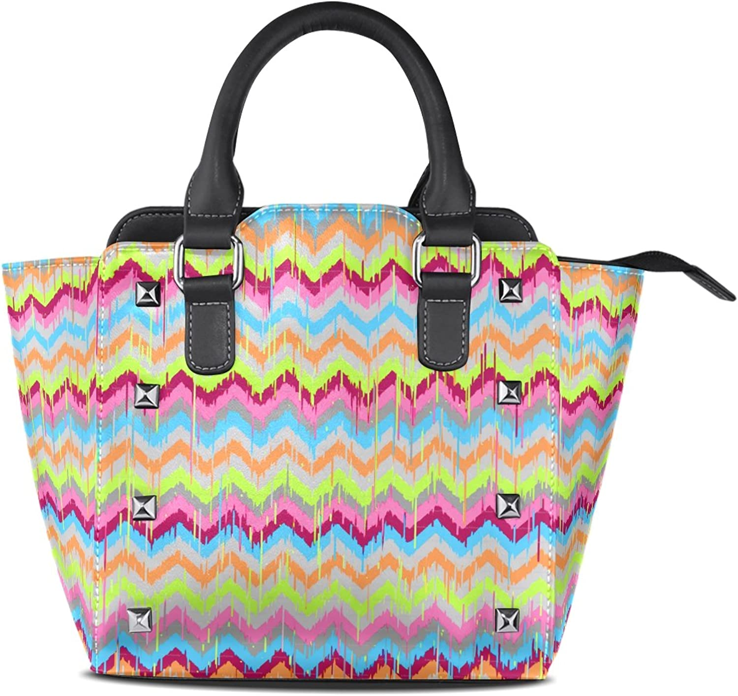 Sunlome colorful Chevron Ikat Print Women's Leather Tote Shoulder Bags Handbags