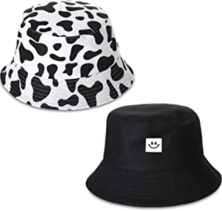 2 Pieces Bucket Hat Smiling Face Bucket Cute Cow Printed Bucket Hat Summer Travel Beach Sun Protection Hat for Women Men