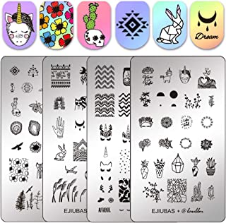 Ejiubas Stamping Plates Double-sided Nail Stamp Plates Nail Art Stamping Kits Image Plates for Nails Design Laublm