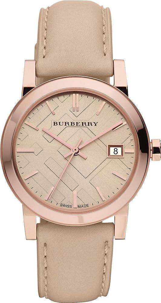 Burberry,orologio per uomo,cinturino in pelle  e cassa in acciaio inossidabile placcato oro rosa BU9014