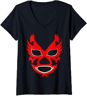Womens Feel-Ink Dos Caras Lucha Libre Mexican Wrestler Legend V-Neck T-Shirt