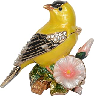 Canary Bird Trinket Box Metal Enameled Animal Figurine Collectable Wedding Jewelry Ring Holder Organizer
