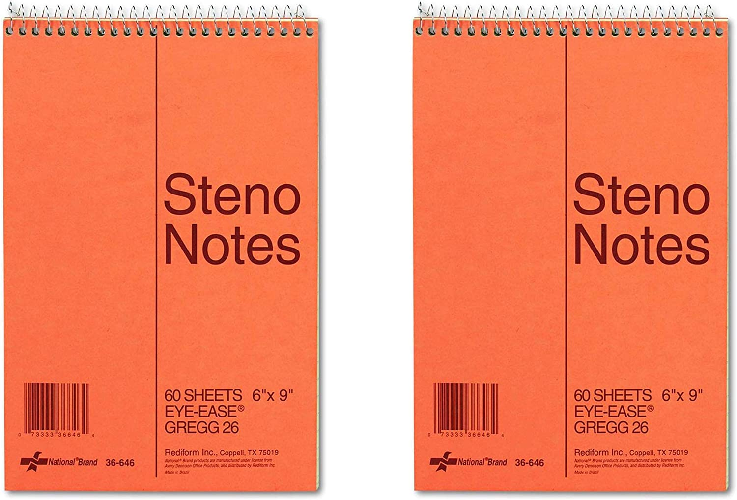 NATIONAL Brown Board Cover Steno Notebook Green Paper 60 Sheets 6 x 9 Inches 36646 Gregg