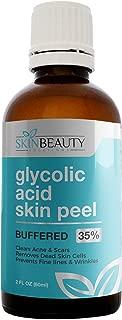 GLYCOLIC Acid 35% Skin Chemical Peel - BUFFERED - Alpha Hydroxy (AHA) For Acne, Oily Skin, Wrinkles, Blackheads, Large Pores,Dull Skin… (2oz/60ml)