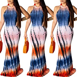Womens Sexy Maxi Bodycon Clubwear - Printed High Neck Evening Party Summer Straps Sundress