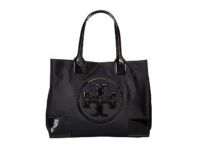 Tory Burch Ella Patent Mini Tote (Black) Tote Handbags