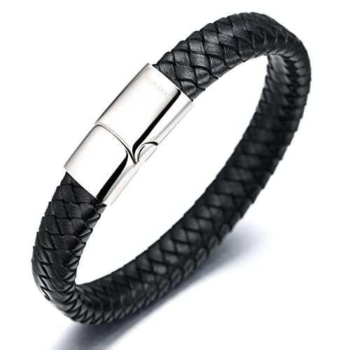 New Mens Real Black Leather Studded Double Wrap Round Wristband Made In UK