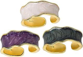 ZEINZE 3pcs Enamel Fashion Adjustable Rings Set 10mm Wide Chunky Handmade Rings Best Jewelry Gift for Women