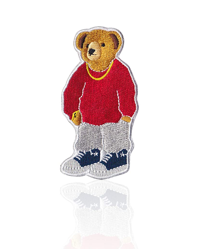 Fresh Teddy Bear Iron on & Sew on Hiphop Streetwear Embroidered Applique Decoration DIY Craft for Tshirts, Denim Jackets, Hats, Bags
