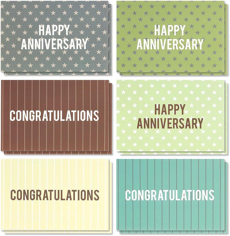 36 Stück Jahrestag Karten & Congratulations Karten – blanko Grußkarten – Grußkarten Bulk sortiert Karten – Polka Dot und Streifen Designs, Umschläge enthalten, 10,2 x 15,2 cm B06ZZML2Y3 | Internationale Wahl  | Mer