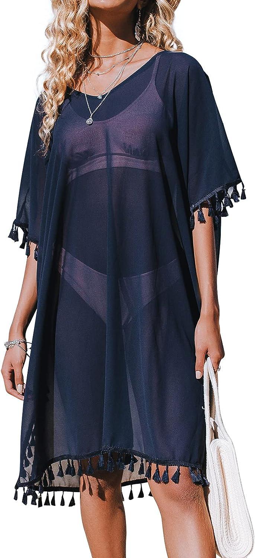 CUPSHE Women's Tassel Trim Cover Up V-Neck Pullover Top