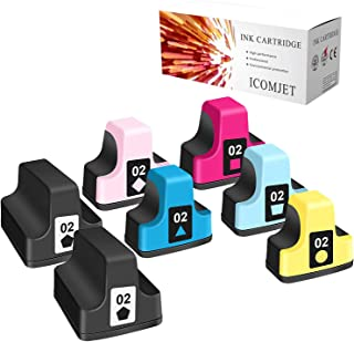 ICOMJET 7 Pack HP02 Compatible Ink Cartridge Replacement for HP 02 Use for HP Photosmart C5180 C7280 C6280 C6180 D7360 D74...