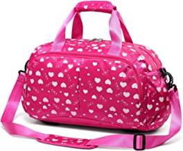 Girls Gym Sport Duffle Bag for Little Kids Teens Women Overnight Weekend Short Trip Travel Duffel Bag for School Carryon Luggage Storage Carrying Carryall Kindergarten Teenage Teenagers (Hot Pink)