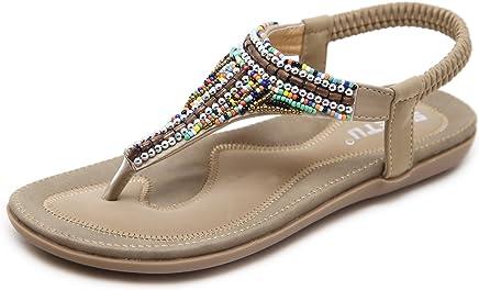 2b938408d7914 Women's Bohemian Beaded Summer Flat T-Strap Thong Sandals, Beige Open Toe  Glitter Rhinestone