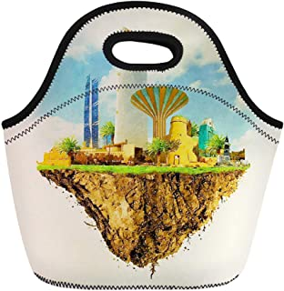 Semtomn Lunch Tote Bag Watercolor Saudi Riyadh City on Floating Land Water Color Reusable Neoprene Insulated Thermal Outdoor Picnic Lunchbox for Men Women