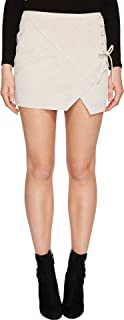 Blank NYC Womens Real Suede Mini Skirt with Lacing Detail in Blondie