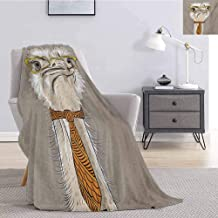 Luoiaax Indie Children's Blanket Sketch Portrait of Funny Modern Ostrich Bird with Yellow Eyeglasses and Tie Lightweight Soft Warm and Comfortable W70 x L84 Inch Taupe Beige Yellow