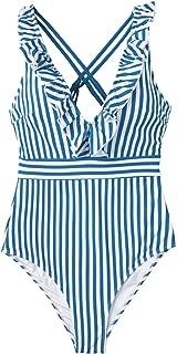 Women's V Neck One Piece Swimsuit Ruffled Back Cross...