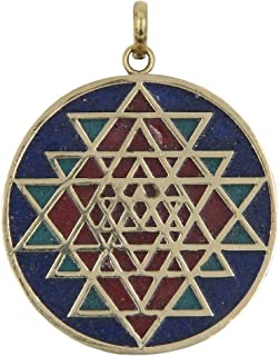 DharmaObjects Shri Yantra Chakra Talisman Protection Good Luck Magic Brass Multi Stone Color Inlay Pendant Necklace