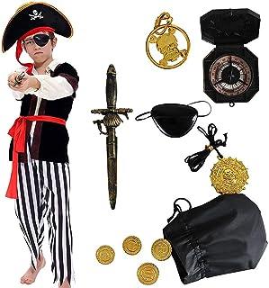 Tacobear Disfraz de Pirata Niño con Accesorios Pirata Parche Daga brújula Monedero Pendiente Oro Medasie Disfraz de Halloween Pirata Niños (L 8-10 años)