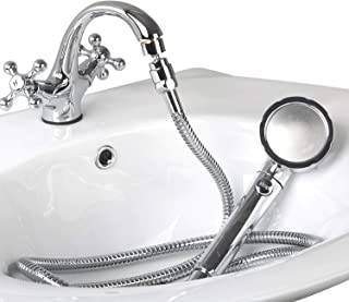 Sink Hose Sprayer Attachment, Female Aerator and Hand Shower Spray Faucet Attachment with Hose, Pet Bath Spray, Dog Shower, Hair Washing Handshower for Utility Room, Bathroom, Laundry Tub