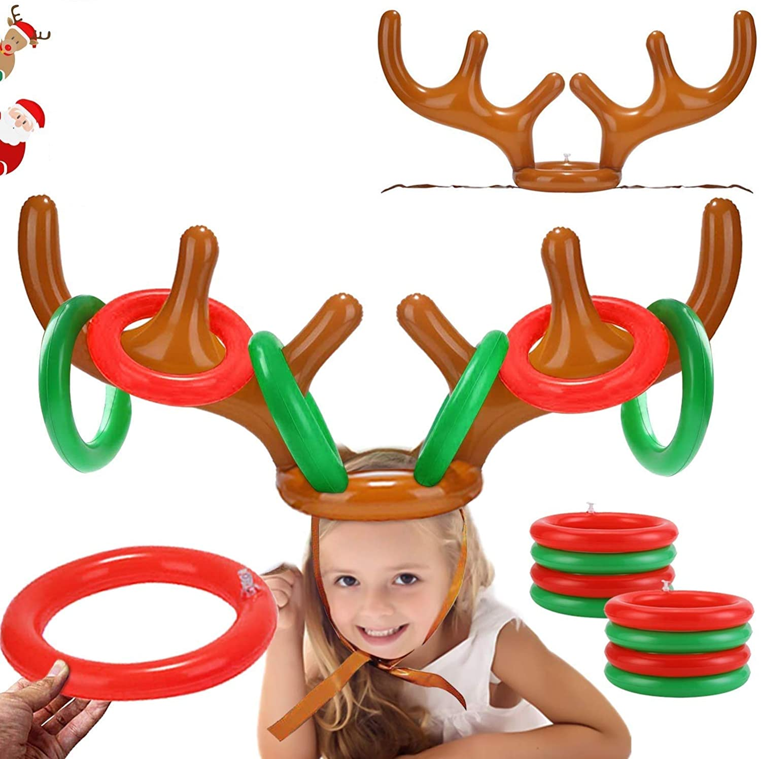 2PCS Christmas Party Toss Game Inflatable Reindeer Antler Hat with Rings for Kids Adults Family Xmas Fun Games(1 Pump,8 Rings, 2 Antlers)