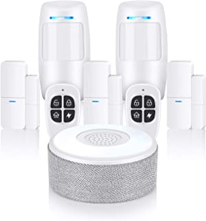 Thustar Security System, WiFi Alarm System 8 Piece kit with APP Push and Calling Alarms, No Monthly Fee, No Long-Term Contracts and Compatible for Home Apartment Work with Alexa and Google Home