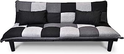 Divano letto clic clac, divanetto Russell grigio scuro - nero - grigio chiaro