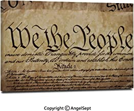 Modern Salon Theme Mural Vintage Constitution Text of America National Glory Fourth of July Image Painting Canvas Wall Art for Home Decor 24x36inches, Light Brown