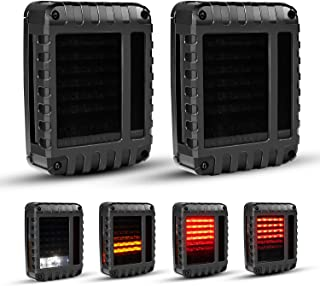 KEENAXIS DOT Certified Defender Series Tail Lights, w/Turn Signal & Back Up Rear TailLights for 07-18 JEEP Wrangler, Smoke Lens Taillights Assembly