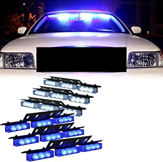 54 X LED Emergency Vehicle Strobe Lights for Front Grille Deck Warning Light (54 LED, Blue and White)