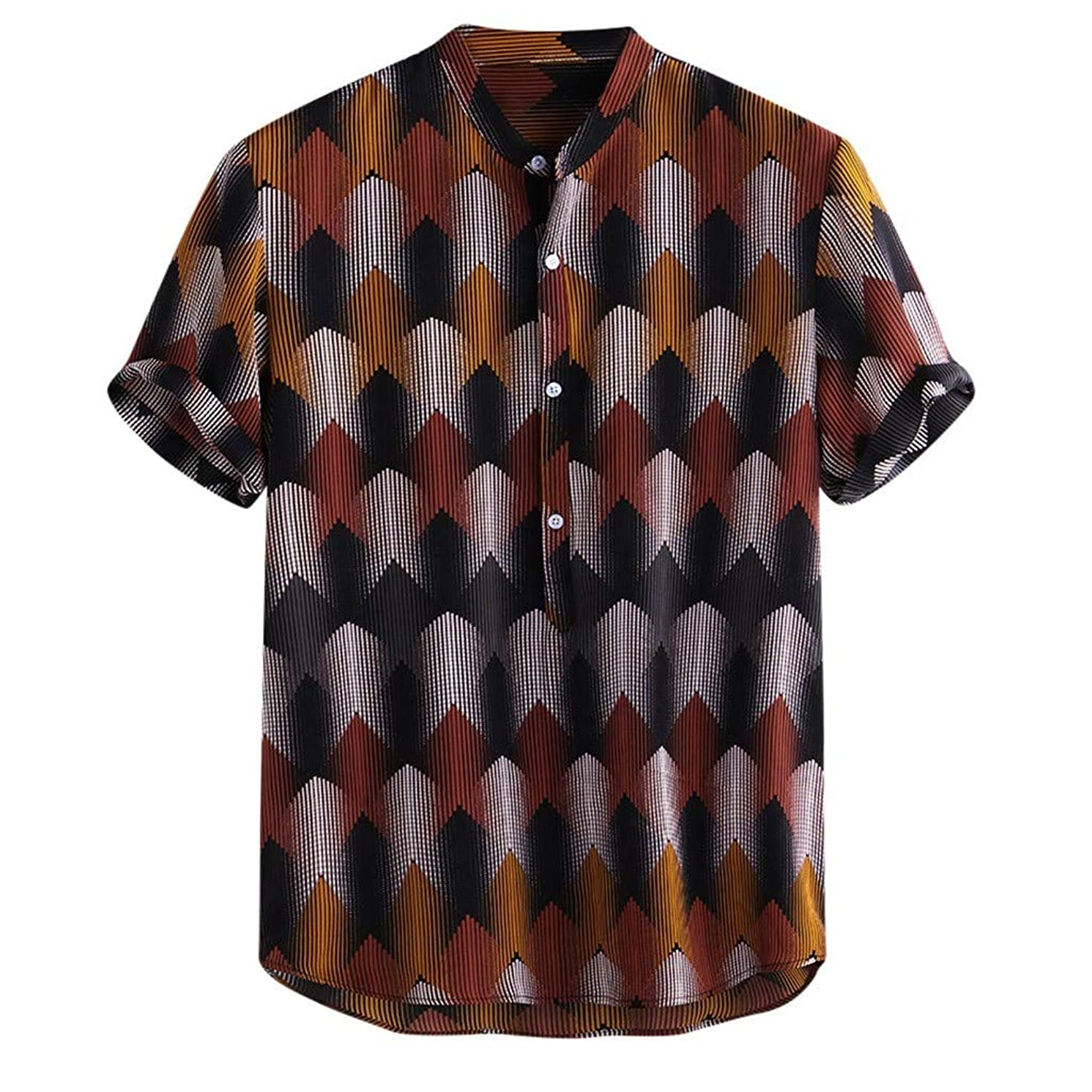 Henley Shirts for Mens, Beautyfine Funny Ethnic Printed Stand Collar Short Sleeve Loose Tops