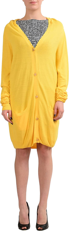 Maison Margiela 1 Yellow Button Down Women's Cardigan Sweater US M IT 42