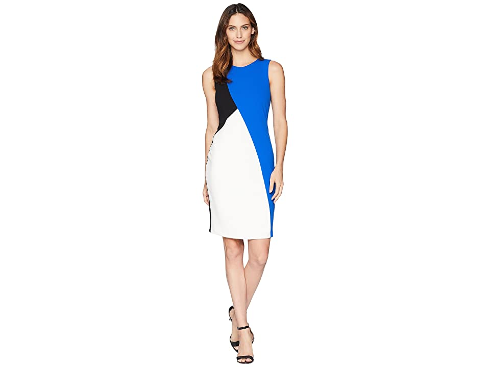 Calvin Klein Black/Blue Color Block Dress (Black) Women