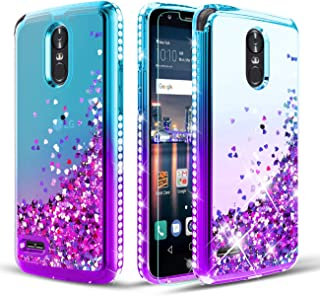 LG Stylo 3 Case/LG Stylo 3 Plus Phone Case W [Tempered Glass Screen Protector] Glitter Diamond Liquid Quicksand Waterfall Flowing Sparkl Bling Bling Case for Girls/Women-Teal/Purple