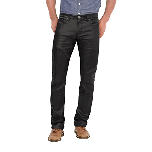 35775f799a988 Agile Mens Slim Fit Stretch Fashion Casual Faux Leather Pants