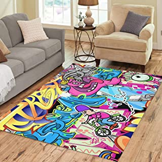 Semtomn Area Rug 3' X 5' Grafitti Graffiti Wall Urban Graffitti Hip Spray Hop Pattern Home Decor Collection Floor Rugs Carpet for Living Room Bedroom Dining Room