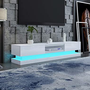 TV Cabinet Storage Stand Entertainment Unit High Gloss Front 2 Drawers Wood with RGB LED Light White 180cm