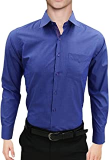 MENS FORMAL SHIRTS, PLAIN COLOR LONG SLEEVES SLIM FIT SHIRTS WITH POCKET