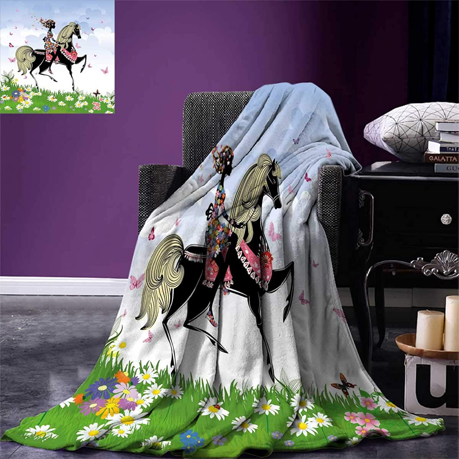 Horse Decor,Park Room,All x36 Blanket,Multicolor,Size:60 ...