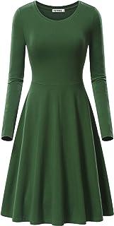 VETIOR فستان طويل الأكمام للمرأة عارضة الخريف سوينغ فساتين ميدي للنساء اللباس