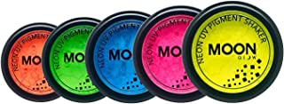 Moon Glow - Blacklight Neon UV Pigment Shaker 0.1oz Set of 5 – Glows brightly under Blacklights / UV Lighting! Use on the face/body, as loose eye shadow and for nail art.