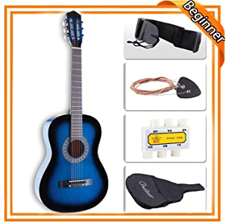 LAGRIMA 38 inch Beginner Acoustic Guitar Starter Kit Kids Adult with Guitar Case, Strap,..