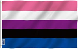 ANLEY Fly Breeze 3x5 Feet Genderfluid Flag - Vivid Color and UV Fade Resistant - Canvas Header and Double Stitched - Gende...