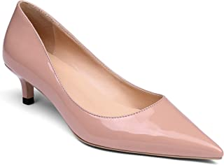 YODEKS Women's Low Heel Pumps Pointed Toe Kitten Heels Slip on Comfort Pumps 1.6 Inches Heels for Business Casual Dress Party Office